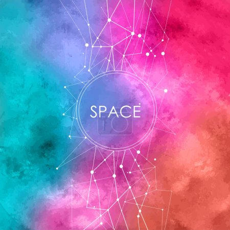 Abstract Vector Watercolor Illustration with connecting dots,space background with constellation