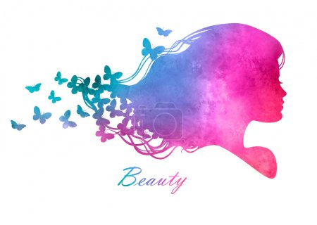 Silhouette head with watercolor hair.Vector illust...