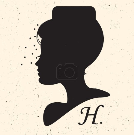 Silhouette head with hat and veil.Vector illustration of woman beauty salon
