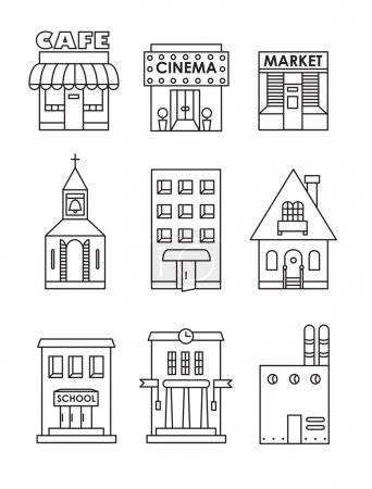 Illustration for Set of vector flat black and white icons of buildings.Cafe, cinema, store, church, apartment house,cottage,school, Hall, factory - Royalty Free Image