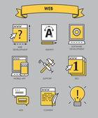 Vektor sor lapos vonalnak a kreatív folyamatot, tervezési folyamat, termék Webfejlesztés ikonok