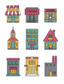 Set of vector flat black and white icons of buildingsCafe cinema store church apartment housecottageschool Hall factory