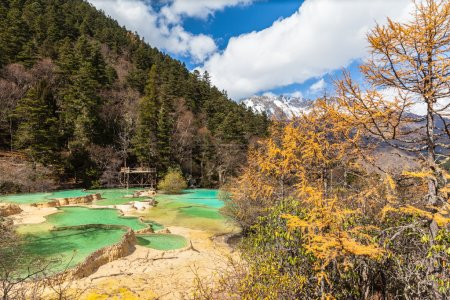 Huanlong national park in Sichuan Province, China