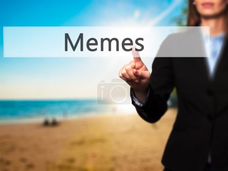 Memes - Businesswoman hand pressing button on touch screen inter