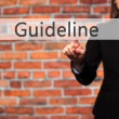 Guideline  - Businesswoman hand pressing button on...
