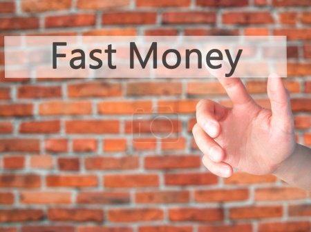 Fast Money - Hand pressing a button on blurred bac...