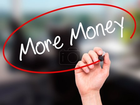 Man Hand writing More Money with black marker on visual screen