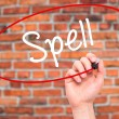 Man Hand writing Spell with black marker on visual...