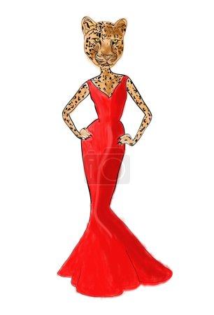 Leopard woman in red dress, fashion illustration
