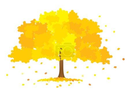 Vector illustration of lush gold tree on white background