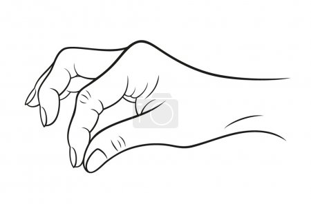 "Hand gesture ""open"" on white background. Vector illustration"