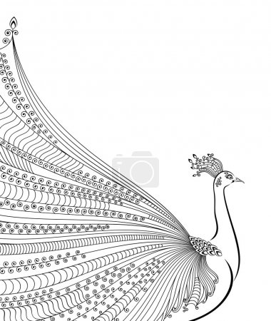 Illustration for Abstract stylized peacock greeting card. Invitation. Vector illustration - Royalty Free Image
