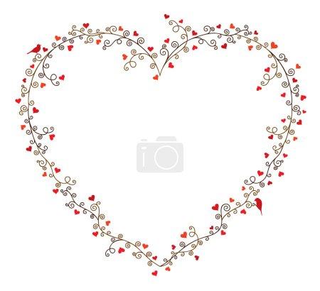 Illustration pour Cadre vectoriel Saint-Valentin pour le texte, composition de branches d'arbres bouclés avec de nombreux cœurs et deux oiseaux sur fond blanc . - image libre de droit