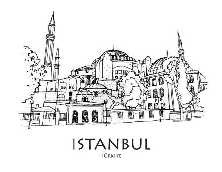 ISTANBUL, TURKEY - Ayasofya (Hagia Sophia), Istanbul, Turkey. Hand created sketch