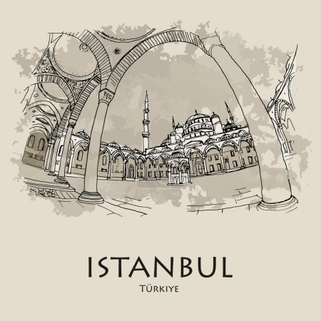 ISTANBUL, TURKEY - Blue Moscque, Hand created sketch