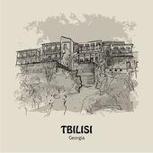 TBILISI, GEORGIA - Old houses with balcony