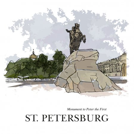 "ST. PETERSBURG, RUSSIA - ""Bronze Horseman"", monument to Peter the Great. Hand created sketch plus vector"