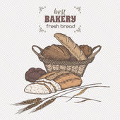 Color vintage bread basket template