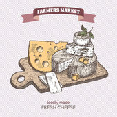 Color farmers market vintage cheese plate template
