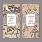 Two Italian wine label templates on cardboard background