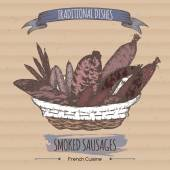 Color vintage smoked sausages sketch placed on cardboard background