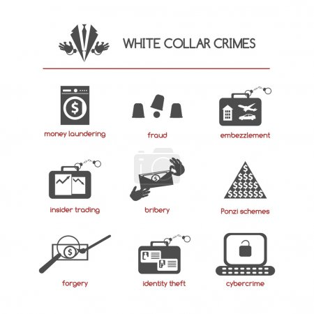 Set of white collar crime icons