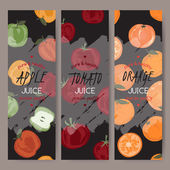 Drei Vektor Vorlagen für Apfel, Orange und Tomatensaft