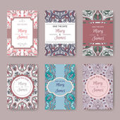 Set of pastel card templates with ethnic patterns