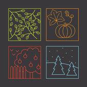 Jahreszeiten, gemalt von Linien