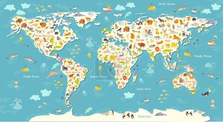 Photo pour Carte du monde des animaux. Belle illustration vectorielle colorée gaie pour les enfants et les enfants. Avec l'inscription des océans et des continents. Préscolaire, bébé, continents, océans, dessiné, Terre - image libre de droit