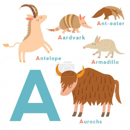 A letter animals set