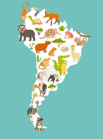 Illustration pour Carte du monde des animaux, Amérique du Sud. Illustration vectorielle de dessin animé coloré pour enfants et enfants. Préscolaire, éducation, bébé, continents, océans, dessiné, Terre - image libre de droit