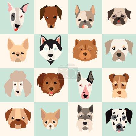 Illustration pour Ensemble d'icônes de chiens mignons, illustrations vectorielles plates. Chiens de races populaires, modèle, carte, graphiques de jeu - image libre de droit