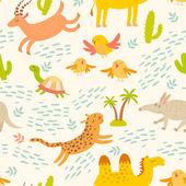 Cartoon african animals seamless pattern Cute leopard aardvark camel antelope birds turtle Children's wallpapers