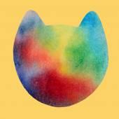 Watercolor cute cat