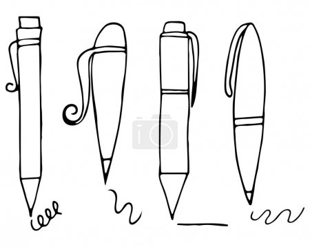 Illustration for Vector illustration with pen set on white background. Hand-drawn cartoon design for school decoration, print and other - Royalty Free Image