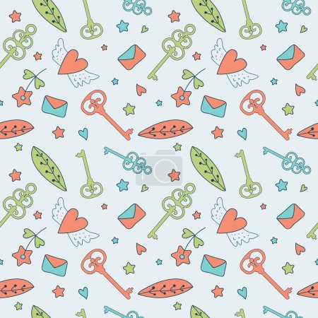 Seamless floral pattern. Love illustration of cute...