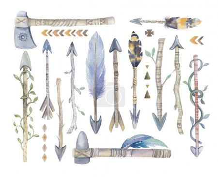 Watercolor aztec boto arrows set