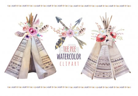 Handdrawn watercolor  tribal teepee