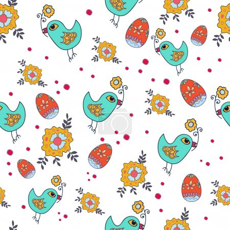 Illustration for Seamless wallpaper with chicken and egg. Easter pattern. Print fabric. - Royalty Free Image