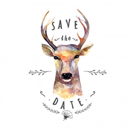 Deer watercolor. Save the date
