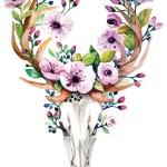 Bright watercolor vector deer skull with flowers...