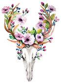 Bright watercolor vector deer skull with flowers
