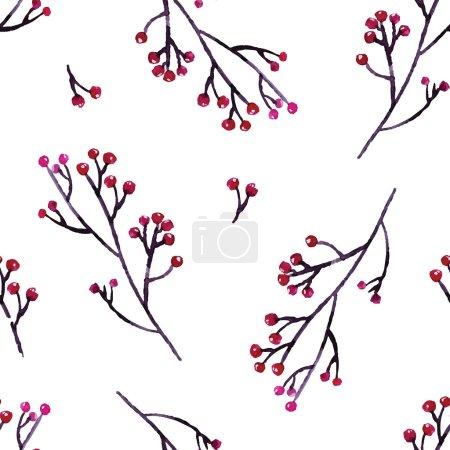 Illustration pour Aquarelle motif botanique avec des baies sur les branches - image libre de droit