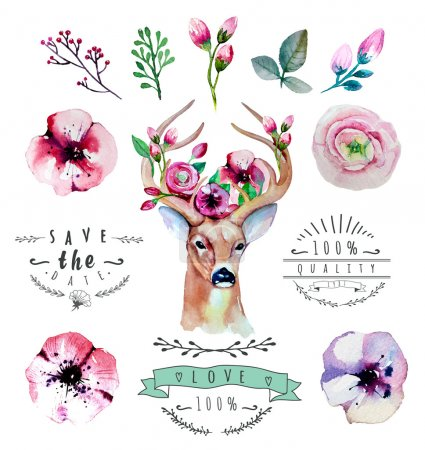 Illustration for Vector watercolor hand drawn floral set with deer. Colorful floral collection with leaves and flowers, drawing watercolor - Royalty Free Image