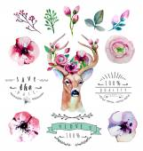 Floral set with deer