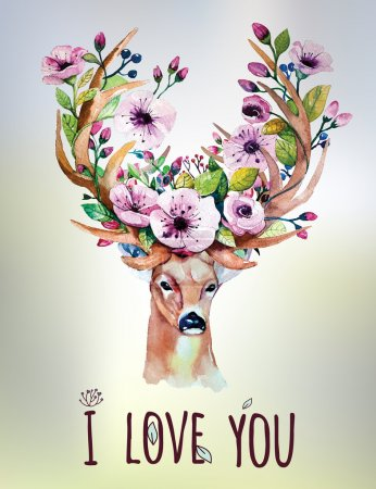 Card with deer and flowers