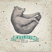llustration of bear isolated onvintage background mormimg yoga