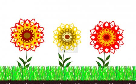 Grass and flowers abstract background