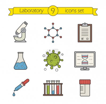 Illustration for Science laboratory tools color icons set. Logo concepts. Research biological lab equipment. Scientific and medical lab items. - Royalty Free Image